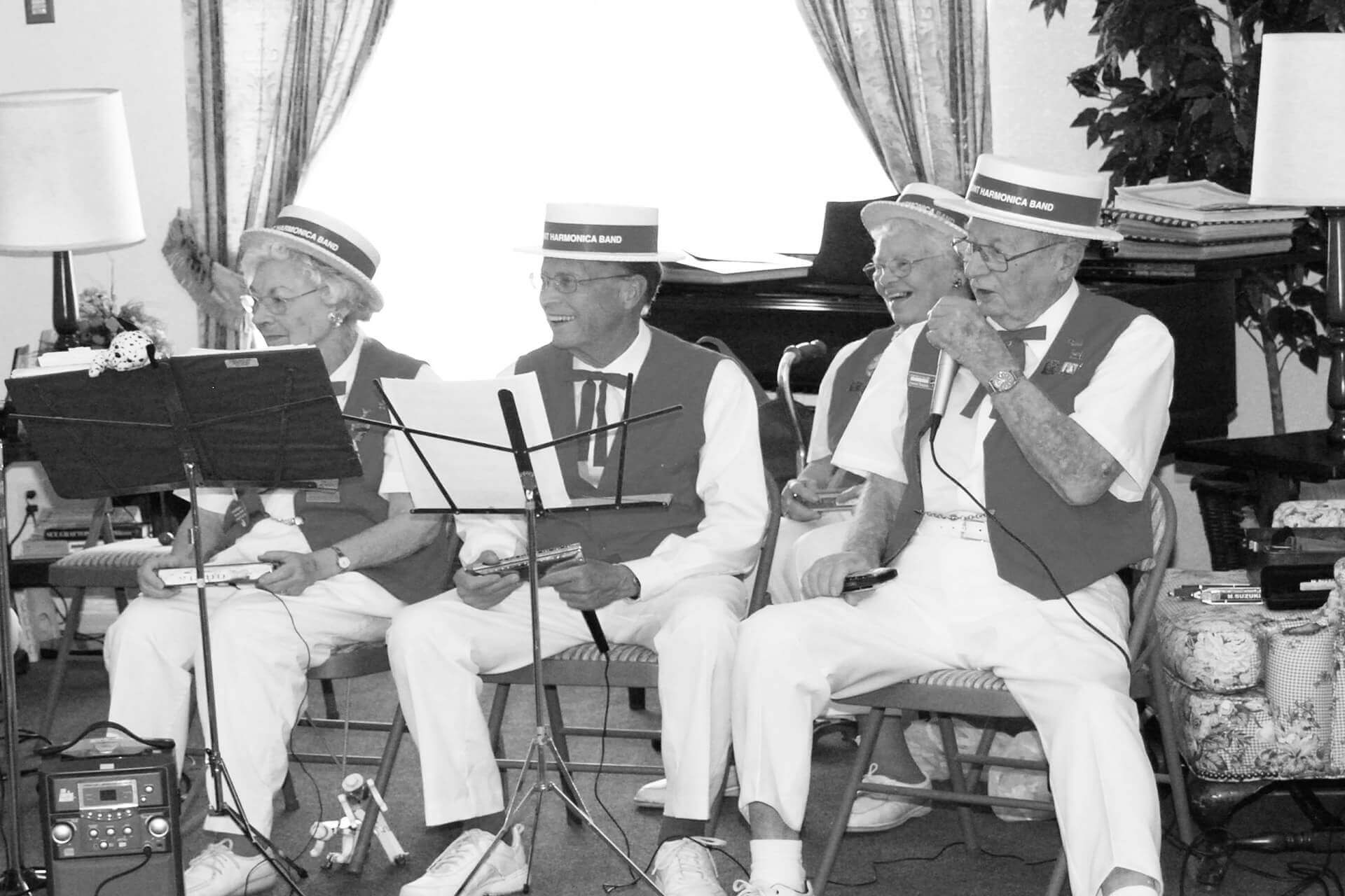 Barbershop singers and other entertainment perform at Eden Adult Care Facility, senior assisted living community homes, located in the Phoenix Arizona east valley area.