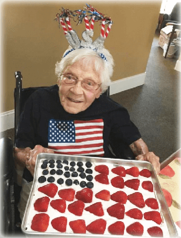 Senior celebrating the 4th of July at Eden Adult Care Facility, serving the Phoenix Arizona east valley.