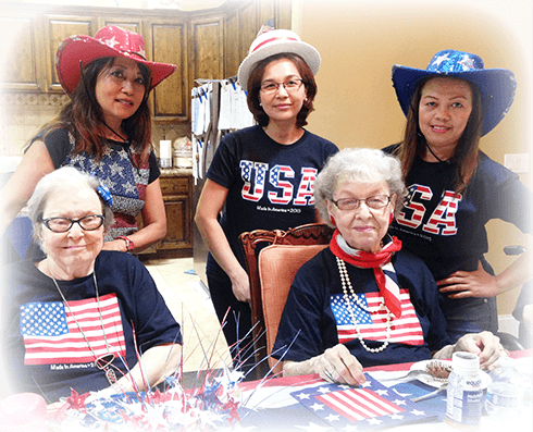 Just one of the many senior assisted living activities, a 4th of July party at Eden Adult Care Faciltiy, with locations in Mesa and Gilbert Arizona.