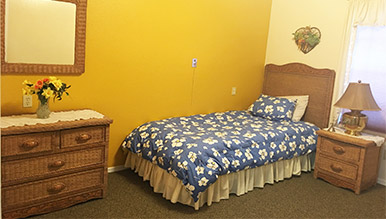 One of the senior care bedrooms within the senior care homes at Eden Adult Care Facility in Mesa Arizona
